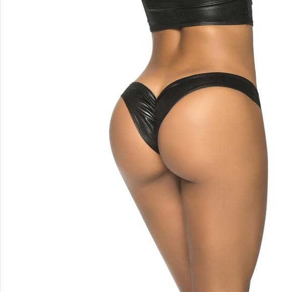 2d116c76f7 NWT Wet Black Low Rise Mini Scrunch Rear Bottom. Boutique. Sohot Swimwear